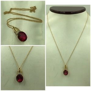 Jewelry - 14KT Gold Red Spinel 3.85 Carats/Diamond Necklace